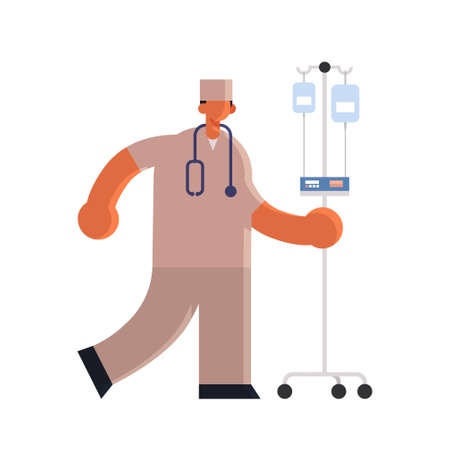 male doctor anesthesiologist in uniform holding dropper medicine healthcare concept hospital medical clinic worker with stethoscope full length white background flat vector illustration Vector Illustration