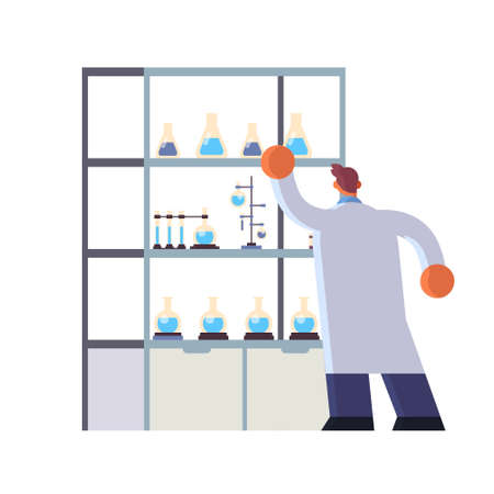 male doctor laboratory scientist in white coat working with test tubes medicine healthcare concept hospital medical clinic lab worker full length rear view flat vector illustration