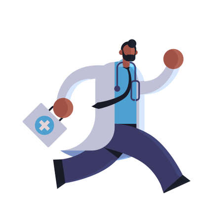 male doctor with first aid kit running to help medicine healthcare ambulance concept african american medical clinic worker with stethoscope in white coat full length flat vector illustration