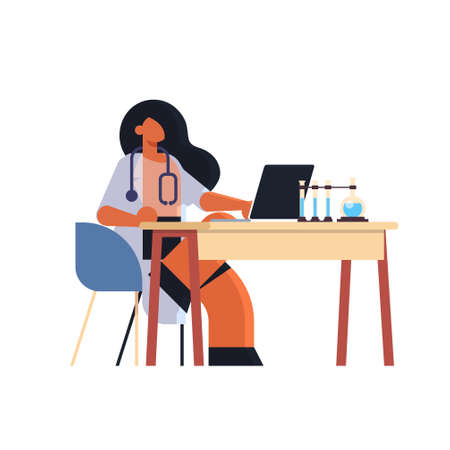 female practitioner doctor using laptop woman researcher sitting at workplace desk with test tubes medicine healthcare concept hospital medical laboratory worker in white coat full length flat vector illustration