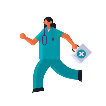 female doctor with first aid kit running to help medicine healthcare ambulance concept woman medical clinic worker with stethoscope in uniform full length flat vector illustration Illusztráció