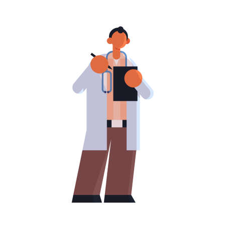 male doctor in white coat writing report in patient card clipboard medicine healthcare concept hospital medical clinic worker with stethoscope standing pose full length flat vector illustration Illusztráció