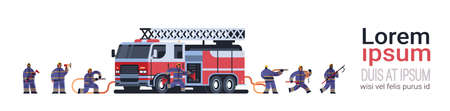 brave firemen at fire truck getting ready to extinguishing fire firefighters wearing uniform and helmet firefighting emergency service concept flat full length horizontal copy space vector illustration