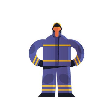 brave fireman standing pose firefighter wearing uniform and helmet firefighting emergency service extinguishing fire concept flat white background full length vector illustration