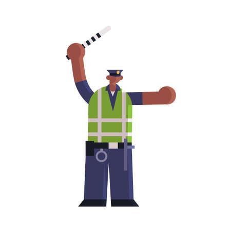 Inspecteur de police de la route mâle à l'aide d'un bâton de circulation agent de police afro-américain en uniforme autorité de sécurité justice loi service concept plat pleine longueur fond blanc illustration vectorielle