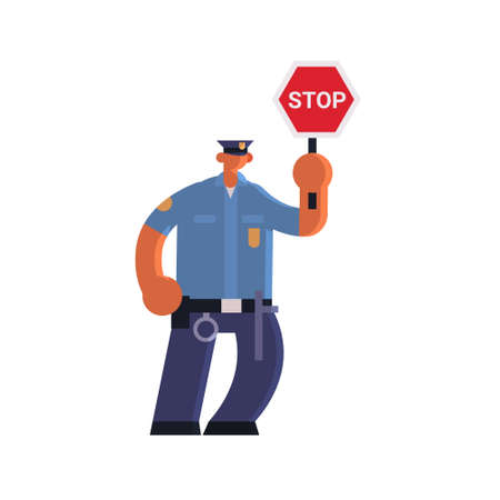 male road traffic police inspector holding stop sign policeman officer in uniform security authority justice law service concept flat full length white background vector illustration