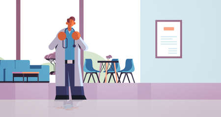 male doctor standing in contemporary clinic hall medicine healthcare concept modern hospital interior worker with stethoscope in white coat full length flat horizontal vector illustration