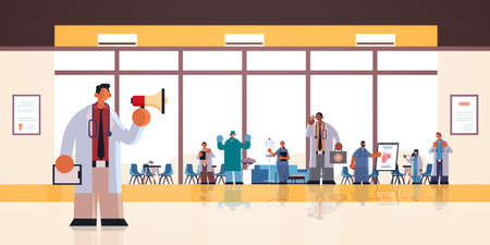 male doctor using loudspeaker making announcement for mix race hospital workers in uniform medicine healthcare concept modern clinic office interior full length flat horizontal vector illustration