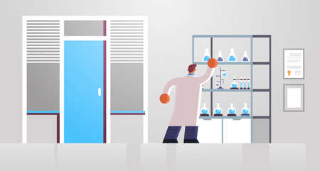 male doctor laboratory scientist in white coat working with test tubes medicine healthcare concept hospital medical clinic lab interior full length rear view flat horizontal vector illustration