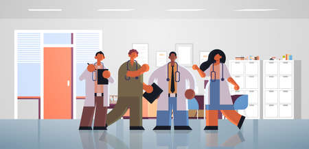 mix race doctors team discussing during meeting medicine healthcare concept modern hospital office interior full length flat horizontal vector illustration