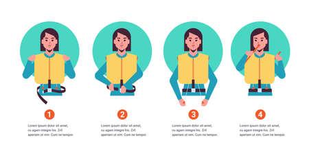 Legen Sie eine Anleitung von der Stewardess-Flugbegleiterin fest, die Sicherheitsanweisungen mit Schwimmweste Schritt für Schritt erklärt, wie man sich in Notsituationen verhält Vektorgrafik