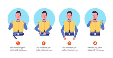 set guidance from the steward flight attendant man explaining safety instructions with life vest step by step demonstration how to behave in emergency situation portrait horizontal copy space vector illustration