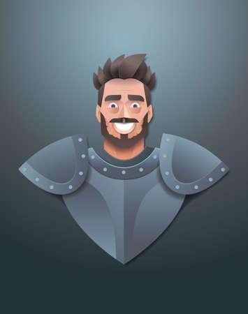 smiling knight face avatar man wearing steel armor portrait trendy paper origami art male cartoon character vertical flat vector illustration Çizim