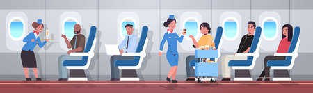flight attendants serving mix race passengers stewardesses in uniform offering drinks professional service travel concept modern airplane board interior full length horizontal flat vector illustration Ilustrace