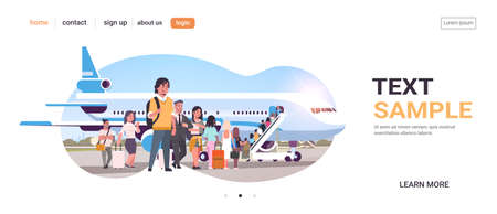 travelers with luggage standing line queue going to plane passengers climbing the ladder to board aircraft boarding travel concept flat horizontal copy space vector illustration Иллюстрация