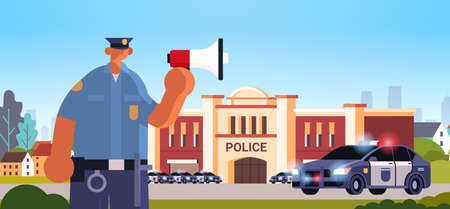 policeman in uniform using loudspeaker making announcement security authority justice law service concept modern police station department building exterior portrait horizontal vector illustration