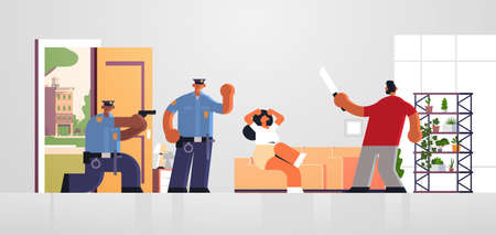 police officers pointing gun at thief with knife attacking woman policemen in uniform arresting burglar security authority justice law service concept living room inteiror full length horizontal vector illustration