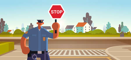 police inspector holding stop sign policeman officer in uniform security authority road traffic safety regulations service concept flat portrait horizontal vector illustration