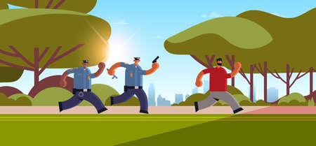 police officers with pistols pursuing burglar criminal running away from policemen in uniform security authority justice law service concept urban park cityscape background horizontal full length vector illustration