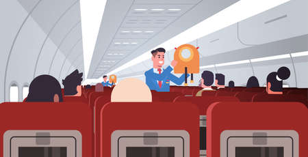 steward explaining for passengers how to use jacket life vest in emergency situation male flight attendants in uniform safety demonstration concept modern airplane board interior horizontal flat vector illustration Stock Illustratie