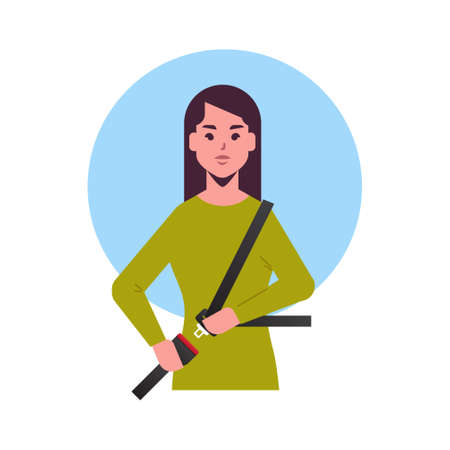 young woman driver or passenger sitting in car girl fastening seat belt before driving lifesaver safe trip safety first concept flat portrait vector illustration