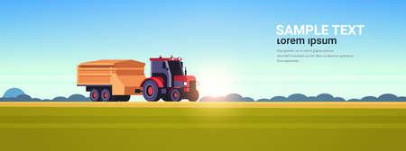 ciągnik z przyczepą ciężkie maszyny pracujące w terenie inteligentne rolnictwo nowoczesna technologia organizacja zbioru koncepcja zachód słońca krajobraz tło płaska pozioma kopia przestrzeń ilustracja wektorowa