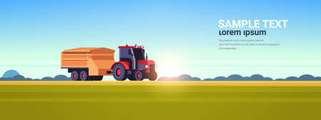 tractor with trailer heavy machinery working in field smart farming modern technology organization of harvesting concept sunset landscape background flat horizontal copy space vector illustration