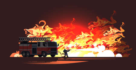 brave fireman near fire truck extinguishing flame firefighter wearing uniform and helmet spraying water to wildfire firefighting emergency service concept flat full length horizontal vector illustration