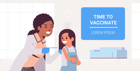 female doctor pediatrician giving vaccine injection shot to little girl time to vaccinate concept medicine healthcare concept flat portrait horizontal copy space vector illustration
