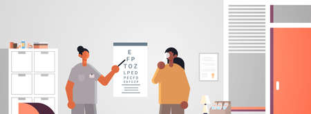 female doctor ophthalmologist pointing at letters on eye chart checking african american patient vision medicine healthcare concept hospital medical clinic office interior portrait horizontal vector illustration.