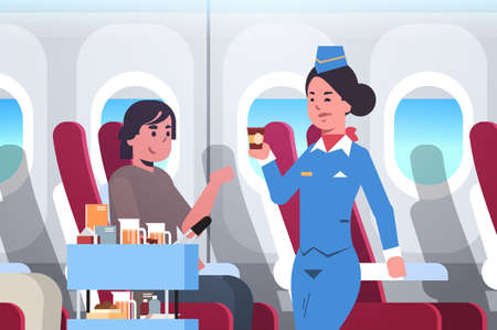 flight attendant serving drinks to passenger stewardess in uniform pushing trolley cart professional service travel concept modern airplane board interior portrait horizontal flat vector illustration