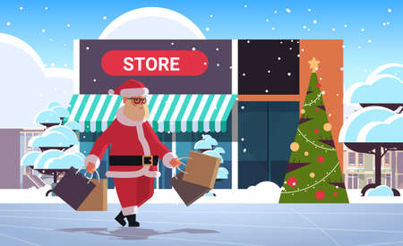 santa claus walking outdoor with shopping bags christmas sale seasonal discount concept merry xmas happy new year winter holiday celebration modern store exterior flat full length horizontal vector illustration
