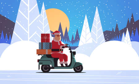 santa claus with gift present boxes riding delivery scooter merry christmas happy new year winter holidays celebration concept night forest full moon landscape background horizontal flat vector illustration