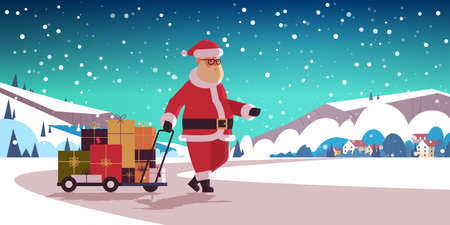 santa claus pulling trolley cart with gift present boxes merry christmas happy new year winter holidays celebration concept countryside landscape background horizontal flat vector illustration Stock Vector - 133659761