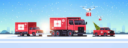 trucks pickup car driving road quadcopters with gift boxes delivery shipping transport merry christmas happy new year winter holidays concept horizontal snowy cityscape background vector illustration