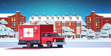 santa claus driving delivery van with gift box container shipping transport for merry christmas happy new year winter holidays celebration concept horizontal snowy cityscape background flat vector illustration Illustration
