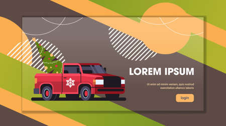 red pickup car with fir tree merry christmas happy new year preparation for winter holidays concept horizontal copy space vector illustration