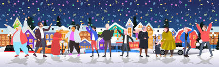 people celebrating merry christmas happy new year winter holidays concept men women standing together near fir tree having confetti party cityscape background horizontal full length vector illustration