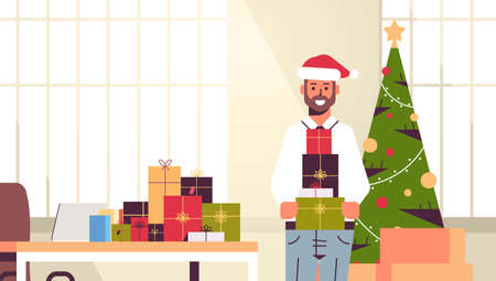 business man holding gift present boxes merry christmas happy new year winter holidays celebration concept modern office interior flat portrait horizontal vector illustration