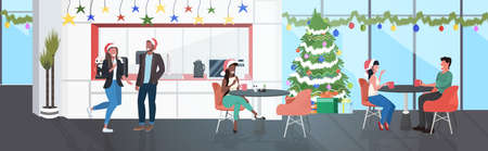 businesspoeple in santa hats having corporate party mix race business people discussing during meeting modern office kitchen dining room interior horizontal full length vector illustration 向量圖像