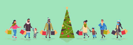 people walking with purchases merry christmas happy new year winter shopping concept mix race parents with children holding paper bags standing near fir tree horizontal full length vector illustration