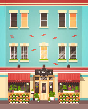 florist shop facade decorated with flowers street store exterior flat vertical vector illustration