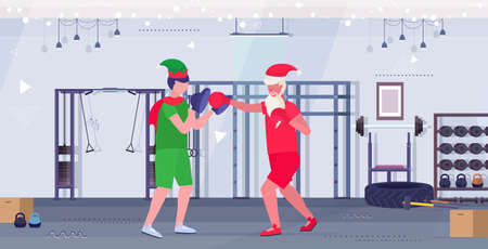 santa claus boxer practicing boxing exercises with elf helper workout healthy lifestyle christmas holidays celebration concept modern gym interior full length horizontal vector illustration Illusztráció