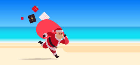 santa claus running with big sack full of gifts happy new year christmas vacation holiday celebration concept tropical beach seascape background full length flat horizontal vector illustration Illustration