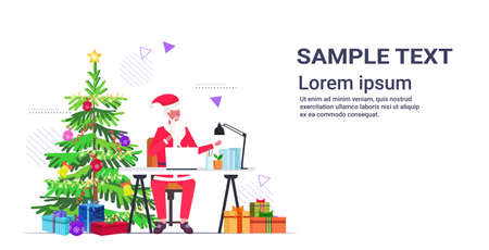 santa claus using laptop sitting at workplace near fir tree with gift boxes merry christmas new year holidays celebration concept copy space horizontal full length vector illustration
