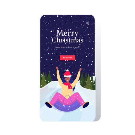 woman in santa hat sledding on snow rubber tube merry christmas happy new year winter holidays activities concept african american girl having fun smartphone screen online mobile app full length vector illustration