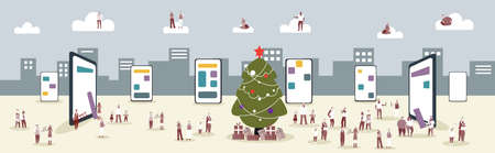 people in santa hats using online mobile application men women having corporate party christmas new year holidays concept smartphone screen cityscape background horizontal full length vector illustration