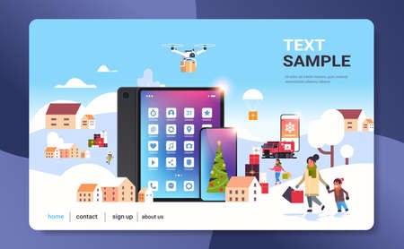people with shopping bags walking outdoor using online mobile app preparing for christmas new year holidays winter cityscape background horizontal copy space vector illustration Illusztráció