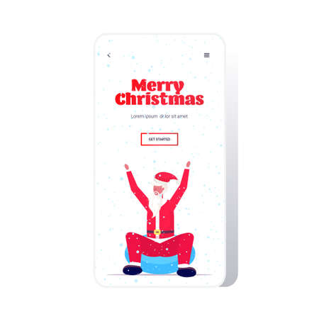 santa claus sledding on snow rubber tube merry christmas happy new year winter holidays activities concept smartphone screen online mobile app greeting card full length vector illustration
