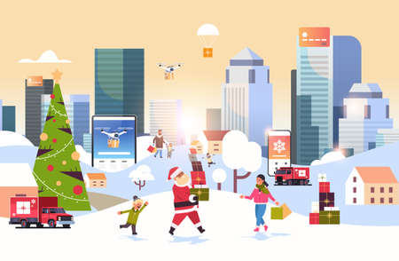 santa claus carrying gift boxes people with shopping bags walking outdoor preparing for christmas new year holidays men women using online mobile application winter cityscape background horizontal vector illustration Illusztráció